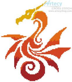 cross stitch pattern Mini Tribal Dragon