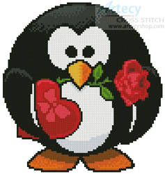 cross stitch pattern Mini Valentine Penguin
