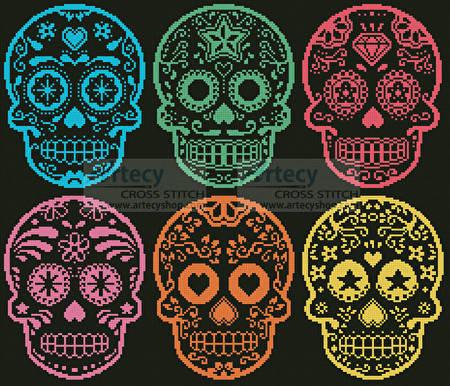 cross stitch pattern Mexican Sugar Skulls