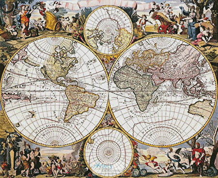 cross stitch pattern Old World Map (Large)