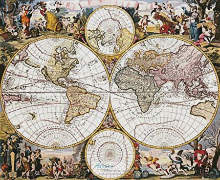 cross stitch pattern Old World Map