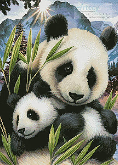 cross stitch pattern Panda and Cub