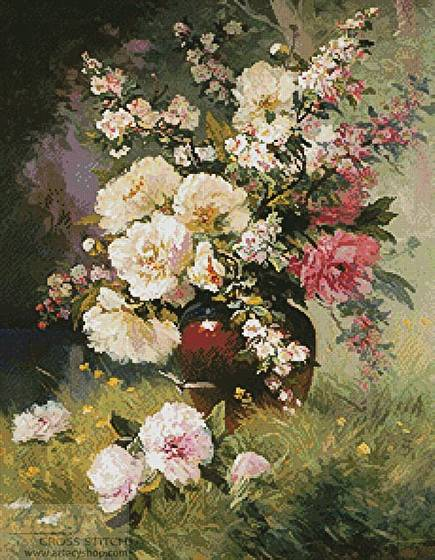 cross stitch pattern Peonies and Cerisiers