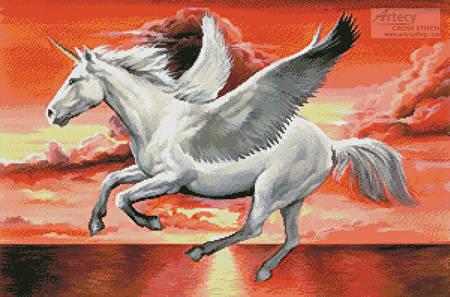 cross stitch pattern Pegasus Sunset