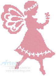 cross stitch pattern Pink Fairy