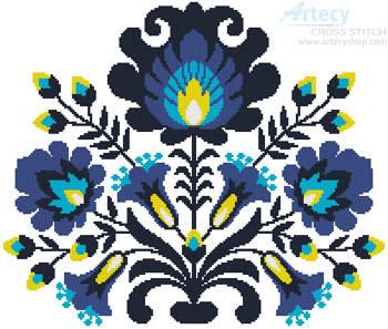 cross stitch pattern Polish Folk Art (Blue)