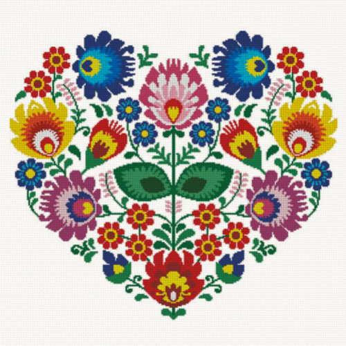 cross stitch pattern Polish Folk Heart