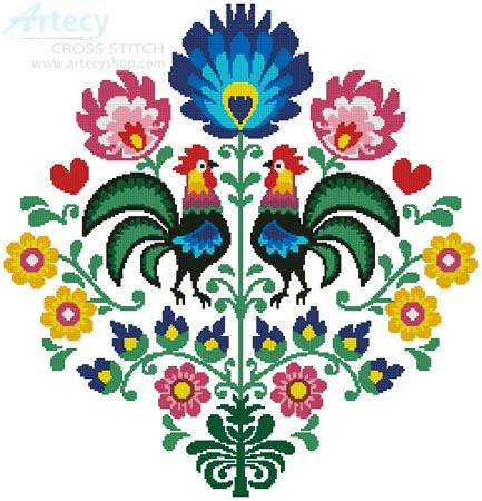 cross stitch pattern Polish Folk Design with Roosters