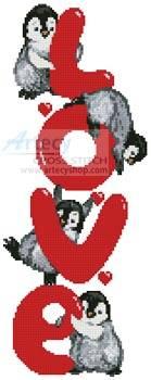 cross stitch pattern Penguin Love
