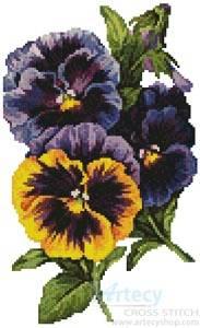 cross stitch pattern Pansies 4