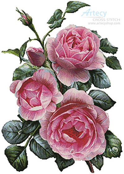 cross stitch pattern Pretty Pink Roses