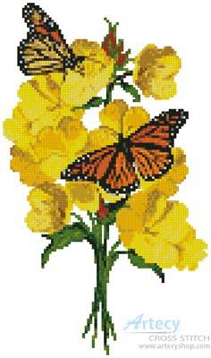 cross stitch pattern Primrose and Butterflies
