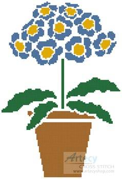 cross stitch pattern Primrose Pot