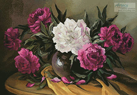 cross stitch pattern Purple Peonies