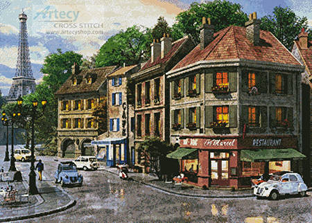 cross stitch pattern Paris Streets