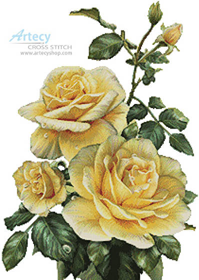 cross stitch pattern Pretty Yellow Roses