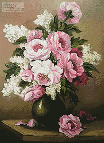 cross stitch pattern Peony and Lilac
