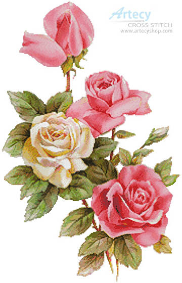 cross stitch pattern Pink and Yellow Roses 2