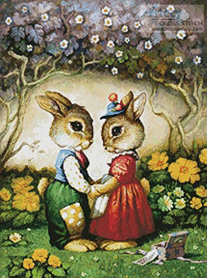 cross stitch pattern Rabbits New Hat