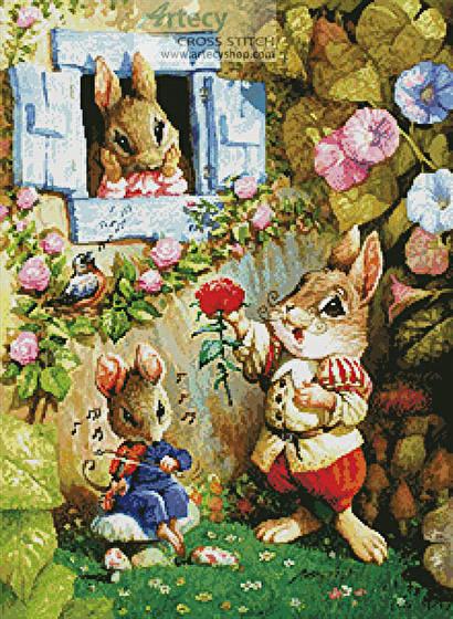 cross stitch pattern Rabbit Singing