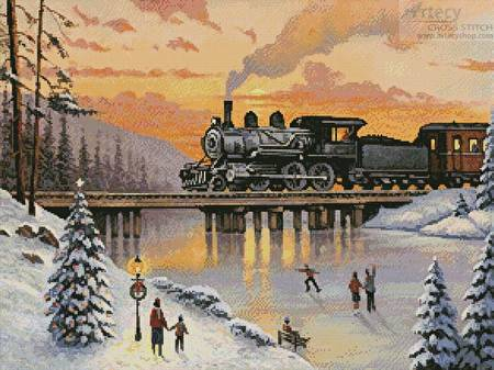 cross stitch pattern Railroad on the Ice Bridge