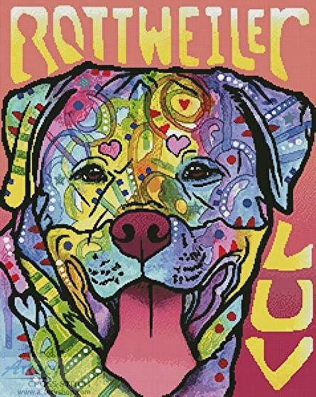 cross stitch pattern Rottweiler Luv