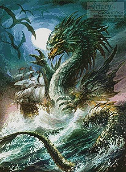 cross stitch pattern The Sea Serpent
