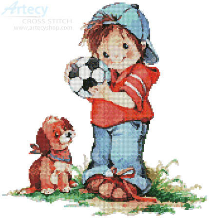 cross stitch pattern Soccer Boy