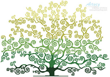cross stitch pattern Summer Tree Silhouette