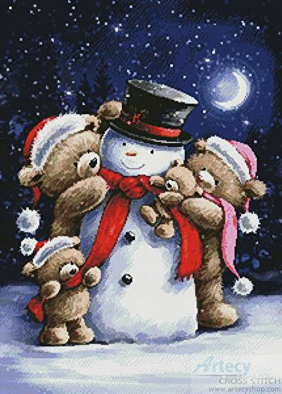 cross stitch pattern Snowman and Teddies