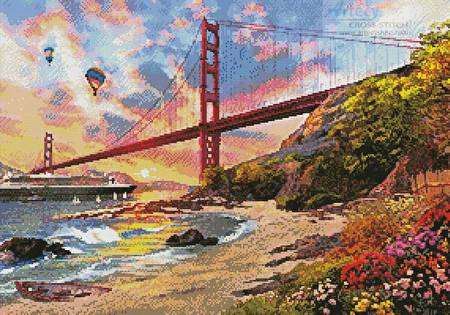 cross stitch pattern Sunset at Golden Gate