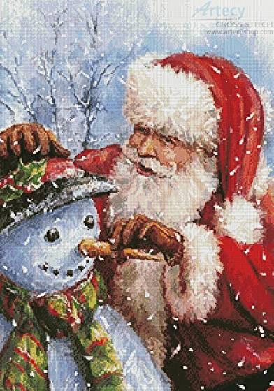 cross stitch pattern Santa with Snowman