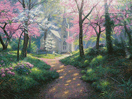 cross stitch pattern Spring Chapel