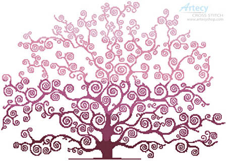 cross stitch pattern Spring Tree Silhouette