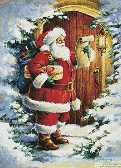 cross stitch pattern Santa at the Door