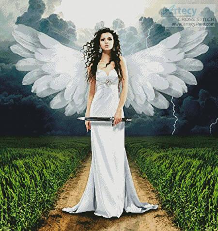 cross stitch pattern Storm Angel