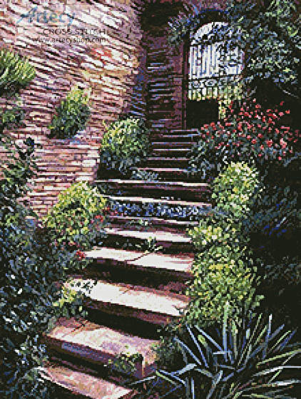 cross stitch pattern Stone Steps Italy