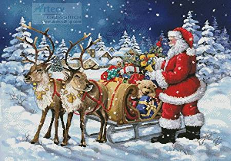 cross stitch pattern Santa's Sleigh