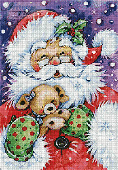 cross stitch pattern Santa with Puppy