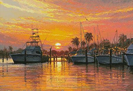 cross stitch pattern Sunset Harbor