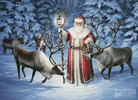 cross stitch pattern Santa With Reindeer