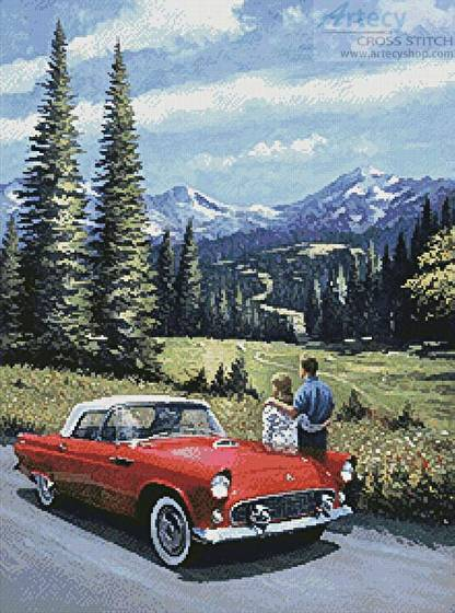 cross stitch pattern T-Bird in the Mountains