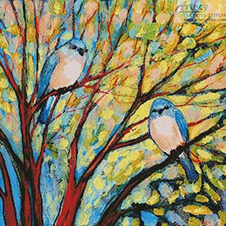 cross stitch pattern Two Bluebirds
