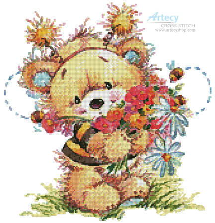 cross stitch pattern Teddy Bee with Flowers 2