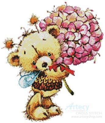 cross stitch pattern Teddy Bee with Flowers