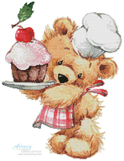 cross stitch pattern Teddy Chef