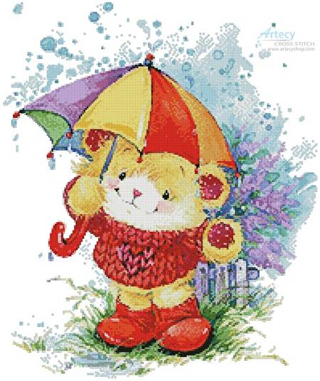cross stitch pattern Teddy in the Rain