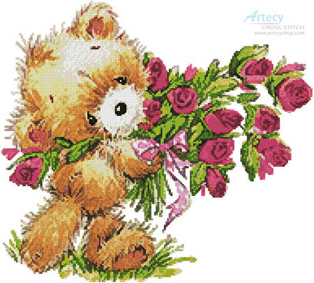 cross stitch pattern Teddy with Flowers