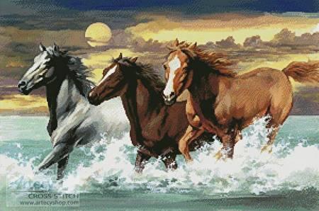 cross stitch pattern Three Horses