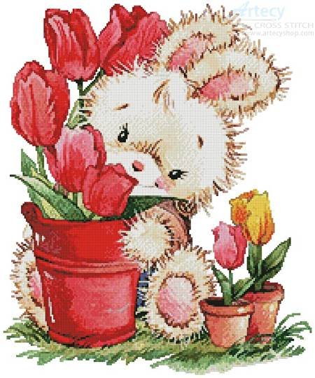 cross stitch pattern Tulip Bunny